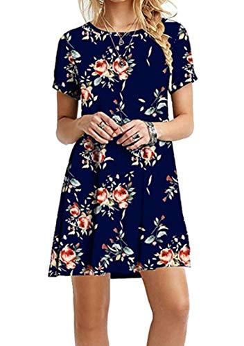 YMING Damen T-Shirtkleid Basic Tunikakleid Casual Loose Minikleid Longshirt Große Größe,Blau Rosenblüten,XXXL/DE 46 (Leggings Indischen)
