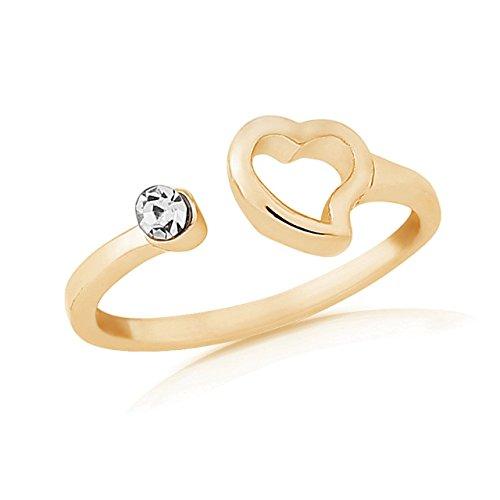 Gold Toe ring mit Herz und Strasssteinen, verstellbar, mit Geschenk Tüte