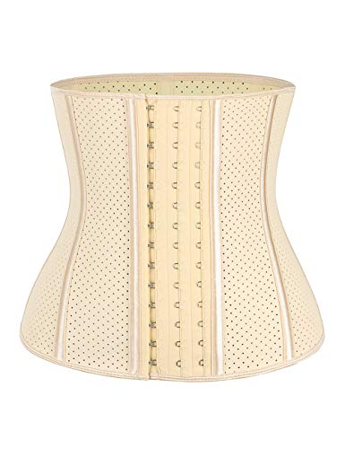 FeelinGirl Damen Latex Training Sport Unterbrust Korsett Cincher Shaper Body Tailenmieder M Beige mit Loch