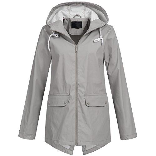 Brave Soul Damen Regenjacke Übergang Parka Friesennerz Regen Mantel Jacke Frühling Sommer AZ44, Größe:S;Farbe:Grau