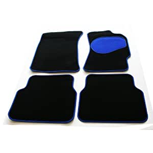 Tailored Custom Fit Black Luxury Velour Carpet Car Mats for BMW 3 Series (E90) 2005 Onwards - Blue Protection Heel Pad & Neat Blue Ribb Edge Trim