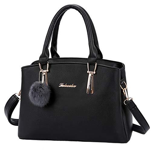HCFKJ Tasche, Mode Frauen Solid Color Hairball Crossbody Tasche Schultertasche Handtasche Tote (BK) -