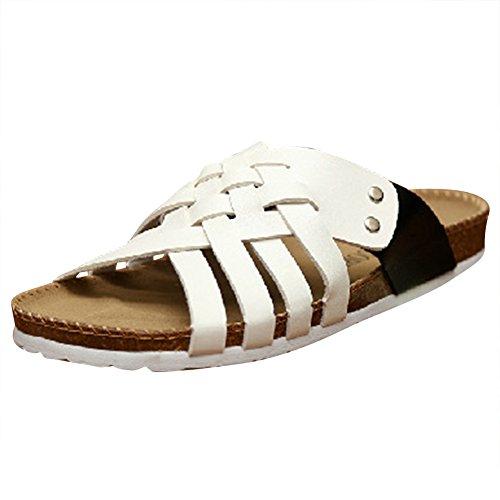 Unisex Adulto Sandali Sughero - Pantofole Eleganti Donna - Uomo Ciabatte Comodi Nero Bianco