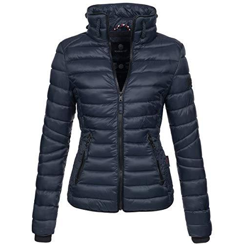 Marikoo Damen Jacke Steppjacke Übergangsjacke gesteppt mit Kordeln Frühjahr Camouflage B405 [B405-Lola-Navy-Gr.M]