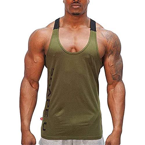 Beonzale Herren Pullover Unterhemd Tank Top Sommer Ärmellose Brief Print Weste Muskel Shirt T Shirt Gym Bodybuilding Sport Fitness Weste Training Tank -