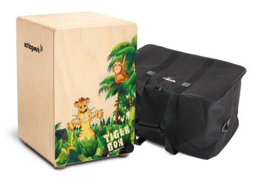 Schlagwerk CP 400 Tiger Box Cajon inkl. Tasche (Kinder Trommelkiste aus Birken Holz, Snareffekt, Gigbag Tragetasche)