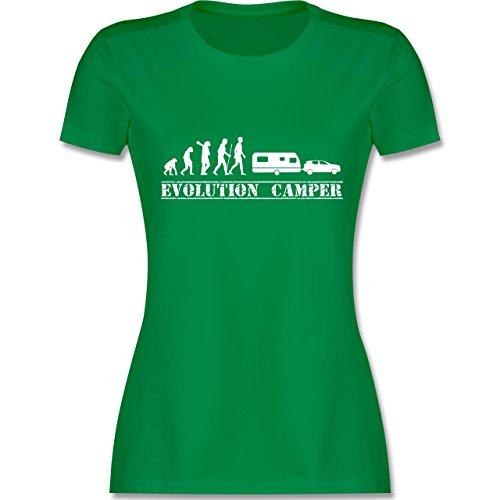 Evolution - Evolution Wohnwagen Weiß - Damen T-Shirt Rundhals Grün
