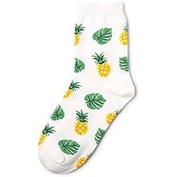 KALENAME (12 Pares Calcetines Femeninos De Frutas Tropicales En Calcetines De Tubo Calcetines De Algodón De Banana De Aguacate Calcetines De Marea De La Personalidad