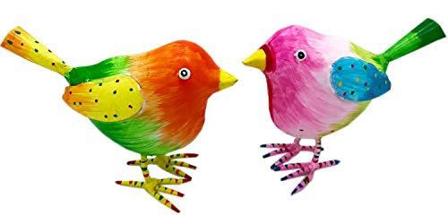 Pape Kunstgewerbe 2 Bunte süße Vögel in pink und orange aus Metall handbemalt je 15 x 7 x 13 cm als Figuren Deko zum Aufstellen