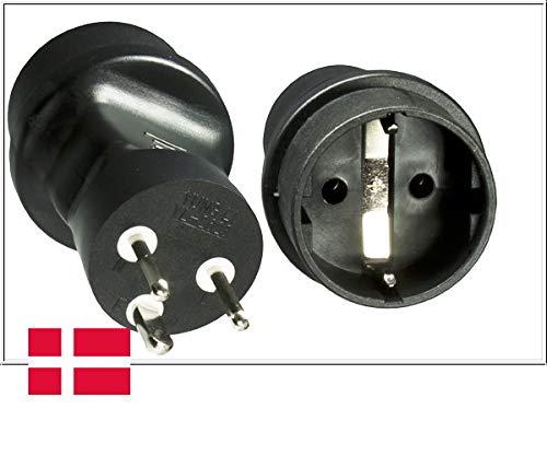 DINIC Reisestecker, Stromadapter für Dänemark, 3-Pin Netzadapter (1 Stück, schwarz)