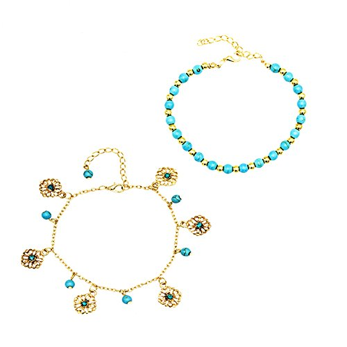 Da.Wa 1Pcs Bracelet de Cheville Vintage Femme Plaqué Argent Bijoux en Alliage Bohème Bagues de Pieds Bracelet Or Chaîne de Pied