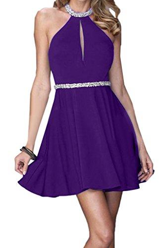 Ivydressing Damen Neckholder Mini A-Linie Rueckenfrei Chiffon Partykleid Promkleid Festkleid Abendkleid Violett