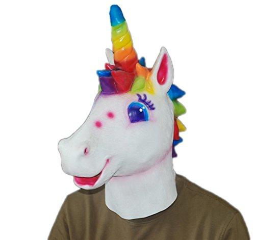 Halloween Latex maske Einhorn Kopf Regenbogen farbige einhorn maske (Latex Einhorn Maske)