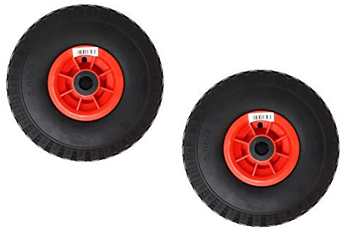 DWT-Germany 101168 Lot de 2 roues de diable en polyuréthane 3,00-4/85 x 260 mm Caoutchouc plein 130 kg 260mm Roue de secours Diable Brouette