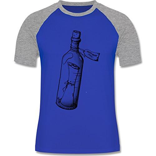 Statement Shirts - Geschenk Flaschenpost - zweifarbiges Baseballshirt für Männer Royalblau/Grau meliert
