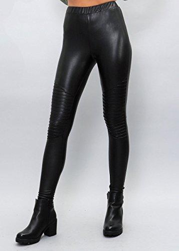 Shiny Leggings für Damen in Schwarz by Sassyclassy | Skinny-Leggings in Leder-Optik - 3