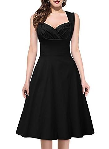 Huada Women's Celeb 1950's Rockabilly Swing Skater Prom Formal Party Tea Dress XL Black
