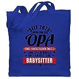 Opa - Seit 2020 Super stolzer Opa - schwarz/rot - Unisize - Royalblau - WM101 - Stoffbeutel aus Baumwolle Jutebeutel lange Henkel