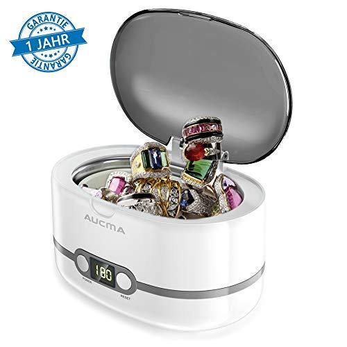 Ultraschallreinigungsgerät Ultraschallreiniger 600ml - Aucma Ultraschallgerät für Brille Uhren Schmuck Ohrringe Ringe Halsketten Rasierer Zahnprothesen, 42,000Hz