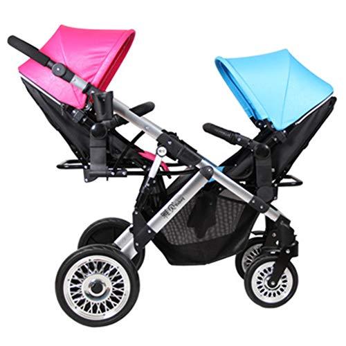 LYXPUZI Zwillingskinderwagen - Zwei-Wege-Leichtstoßdämpfer Baby kann liegen - hoher faltbarer Kinderwagen (Farbe : Blue pink)
