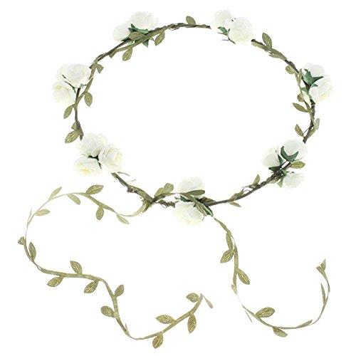 (Minetom Süß Boheme geflochten Blumen Stirnband Kopfband Kranz von Rosen Braut Brautjungfer Haarschmuck Blumen Hairband Hochzeit (One size, 12))