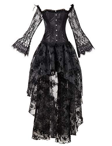 EZSTAX Vintage Kleid Korsage Retro Damen Kleider Kostüm Gothic Verkleidung für Cosplay Halloween Party Karneval ,Schwarz,L (Gothic Kostüm Halloween)