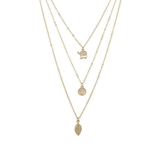 Design-dreifach-haken (Lux Accessories Boho Dreifach-Halskette, mit drei Ketten und drei Anhängern: Elefant, Opal und Blatt)