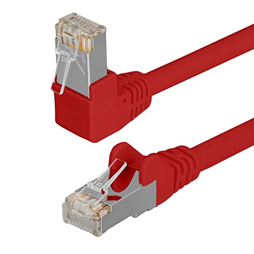 HB Digital Netzwerkkabel LAN Kabel 90° Winkel RJ45 Stecker 0,25m 25cm cat 6 rot Kupfer Profi S/FTP PIMF LSZH Halogenfrei RoHS cat. 6 Cat6 AWG 27/7 RJ45 Port Ethernet Netzwerk AWG27 Patchcable