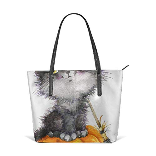 XGBags Custom Soft Leather Halloween Holiday Little Cat Witch And Pumpkin Leather Zipper Tote Ladies Shoulder Bag Shoulder Bag For Travel Shopping Tote Umhängetaschen