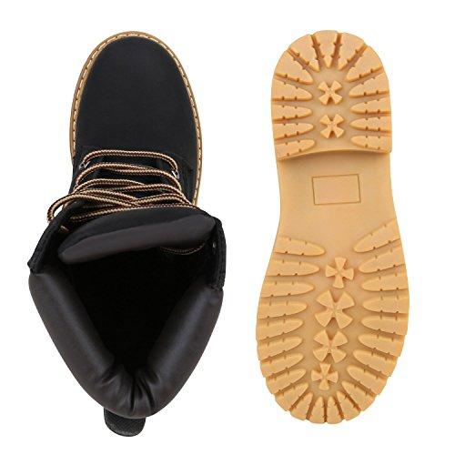 Bequeme Damen Stiefeletten Outdoor Worker Boots Schwarz Hellbraun
