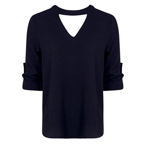 Sexy Col V et RAS de Cou Rolled Manches Retroussées Manches Longues à Découpes Blouse Chemisier Shirt Chemise Haut Top Noir Noir