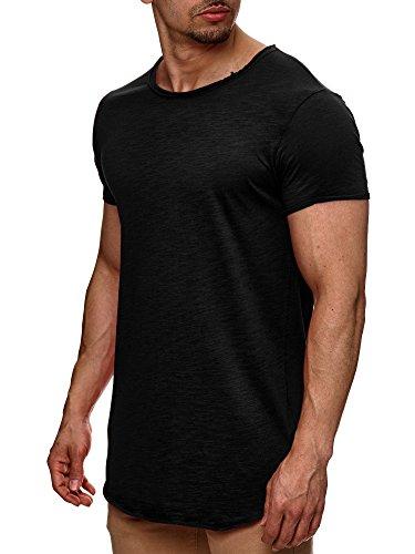 S!RPREME Herren T-Shirt Kurzarm Basic Longshirt Oversize Slim Fit Schwarz L (Em T-shirt Schwarzes)