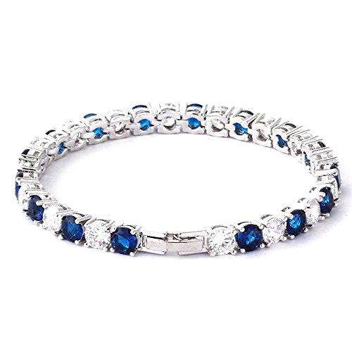 findout Regali di Natale Swarovski Elements zirconi cubici blu cristallo Bracciali partito cerimonia nuziale di modo di lusso (f1536)