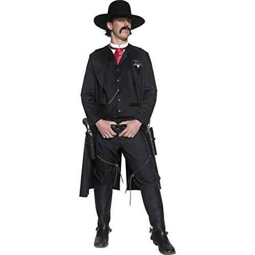 Sheriff Kostüm Revolverheld Cowboykostüm schwarz M 48/50 Wilder Westen Cowboy Westernkostüm Karnevalskostüme Männer (Wilder Westen Revolverheld Kostüm)
