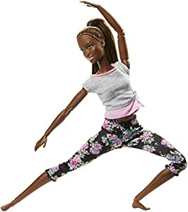 Barbie Fashionista Made to Move, Muñeca articulada afroamericana con top gris (Mattel FTG83)
