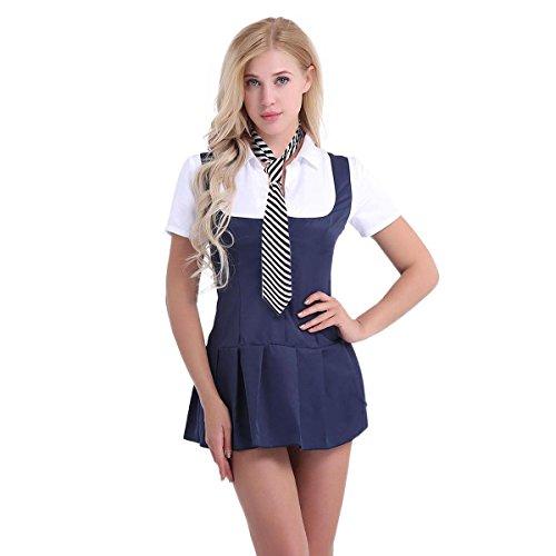 dPois Damen Kostüm Sailor Cosplay Kostüm Studentin Uniform mit Krawatte Schulmädchen Kostüm Dessous Set Babydolls Cosplay Kostüm Halloween Weihnachten Party Marineblau&Weiß Small