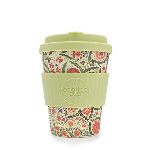 Tasse à café portable Ecoffee Cup Papa Franco en bambou - Réutilisable - Motif floral - 340 ml
