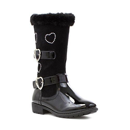 Walkright Girls Black Boot with Heart Detail - Size 1 - Black