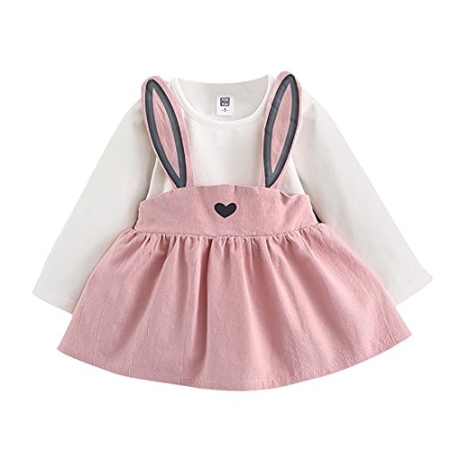 OVERDOSE Herbst Baby Mädchen Baumwolle Langarm Cute Rabbit T-Shirt Kleid Bandage Bandage Anzug Princess Mini Dress (3-6 Monate, A-Rosa) (Rosa Santa Kostüm)