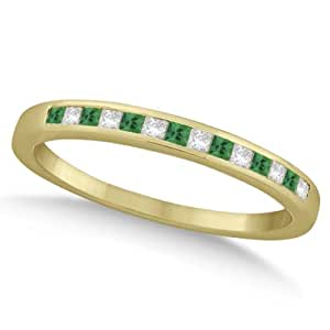 Allurez Princess Cut Diamond and Emerald Wedding Band 18k Yellow Gold (0.34ct) - T 1/2