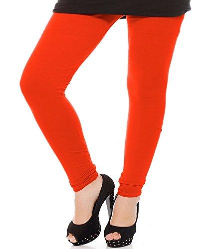 M.G.R Women\'s Cotton Lycra Churidar Leggings - Orange ( Free Size )