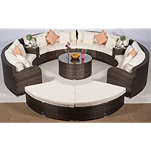 41t%2Bk7jMupL. SS300  - Giardino Riviera 8 Seat Brown Rattan Garden Furniture Set + Coffee Table, 2 Armrest Coolers & 2 Stools + Outdoor Furniture Covers | 13 pcs Round Rattan Sofa Set | Rattan Patio Conservatory Furniture