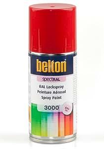 RAL 3000 ROUGE FEU Mat (BELTON) (Bombe peinture 150 ml) - bombe aerosol reparation peinture carrosserie voiture teintes standrard et RAL (reference couleur constructeur 150 ou 400 ml)