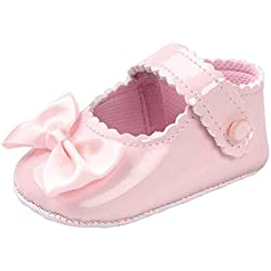 Zapatos Bebé,Xinantime Niña Bowknot Zapatos de Cuero Artifical Suave Invierno (17, Rosa)