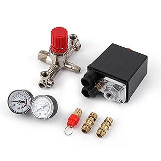 Luftdruck-Kompressor-Regler Regelventil mit Manometer 12 240v Schalter