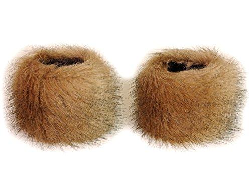 Futrzane Faux Fox Fur Hair Soft Wrist Band Ring Cuff Warmer