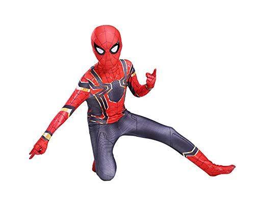 wdegr Kinder Spiderman Kostüme Jumpsuit Overall Bodysuit Outfit Cosplay Kostüm,XL (Muskel Mann Kostüm Für Kleinkind)