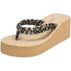 Zachho Women's Black Rubber Wedges Fashion Sandal - 4