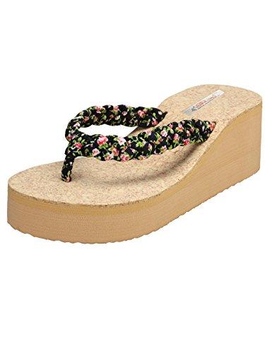 Zachho Women's Black Rubber Wedges Sandal -6