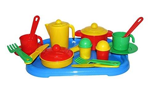 31 tlg Küchenset für Spielküche Töpfe Kinderservice uvm auf Tablett